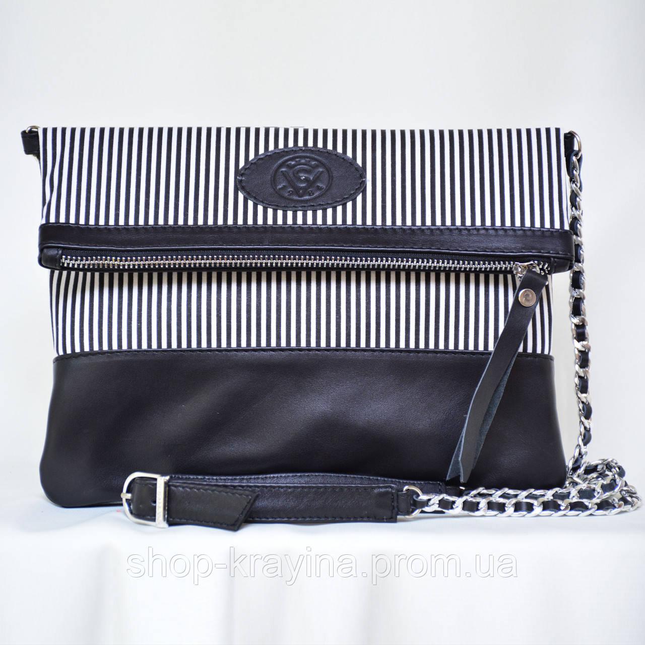 Кожаный клатч VS131 zebra 28х20 см