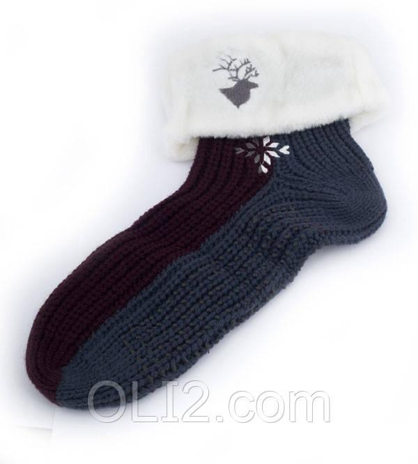 Мужские носки - тапочки для дома  новогодние