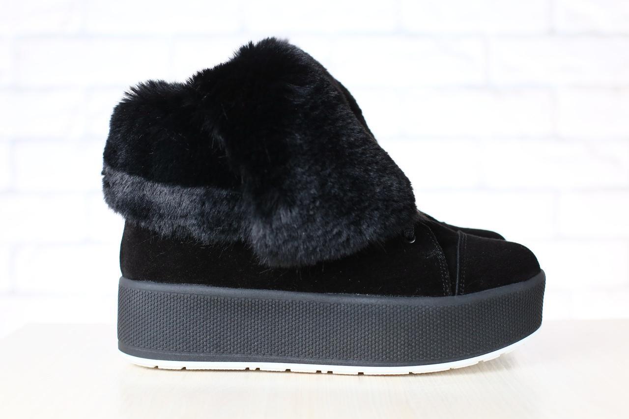 f48161981 Женские зимние полуботинки, замшевые, на толстой подошве, на меху, черные 39