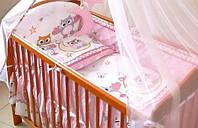 Защита бампер в детскую кроватку  из 4 частей на молнии Совы розовый