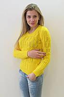 Свитер из хлопка 1459 желтый р. 42-48