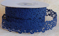Кружево лента, синий цвет, 2 см, 20 м моток