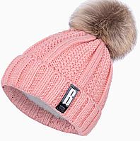 Женская зимняя шапка с помпоном розовая (пудровая) 2017 утепленная