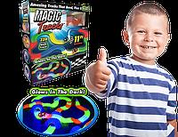 Детская игрушечная дорога - конструктор Magic Tracks 220 деталей, Светящаяся гибкая гоночная трасса, Хит