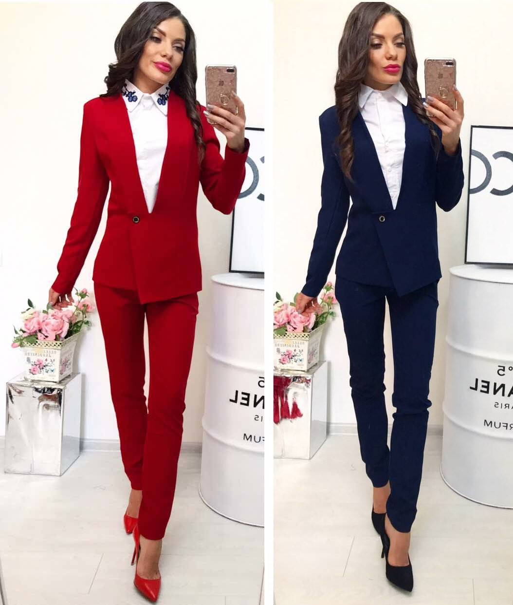 691e802a4fc Женский классический костюм брюки и пиджак -