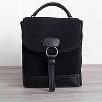 Рюкзак - сумка  женский замшевый черный 11432п