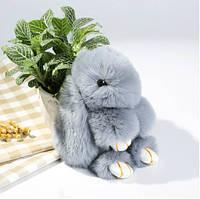 Брелок на сумку кролик із штучного хутра Rex Fendi (Рекс Фенді) сірий, 19 см