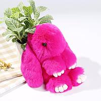 Брелок на сумку кролик із штучного хутра Rex Fendi (Рекс Фенді) малиновий, 19 см