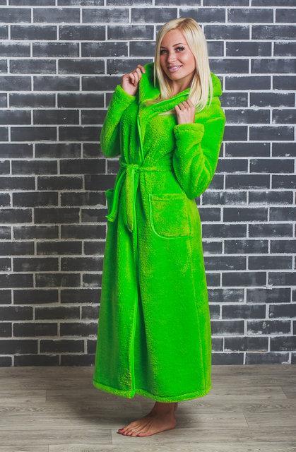 Махровый женский халат  42-54 р салатовый