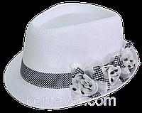 Шляпа челентанка цветы лен белый+ч/б