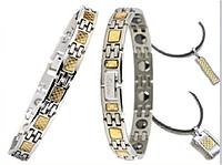 2  титановых браслета и кулона с германевыми и магнитными вставками (муж+жен)