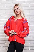 Вышитая дизайнерская женская рубашка с растительным и геометрическим узором, красная