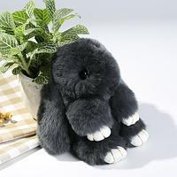 Брелок на сумку кролик из искусственного меха Rex Fendi (Рекс Фенди) темно серый, 19 см