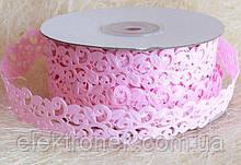 Кружево лента, розовый цвет, 2 см, 20 м моток