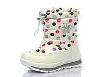 Детские зимние ботинки-дутики для девочек Tom.M, искусственная кожа + болонь, стелька шерсть, размеры 25-30