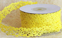 Кружево лента, лимонный, желтый цвет, 2 см, 20 м моток