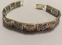 Браслет мужской серебро с золотом Архангел Михаил, фото 1