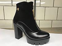 Комбинированные женские ботинки на высоком каблуке украинского производителя. Оптом и в розницу