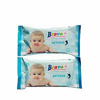 Влажные салфетки BRAVO+ детские с экстрактом алое (15шт)
