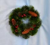 Новогоднее украшение - венок декорированный 30 см