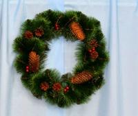 Новогоднее украшение - венок декорированный 50 см
