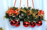 Подвесной новогодний венок с шарами 40 см