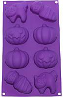 """Форма силиконовая для выпечки """"Хэллоуин"""" планшет 8 ячеек"""