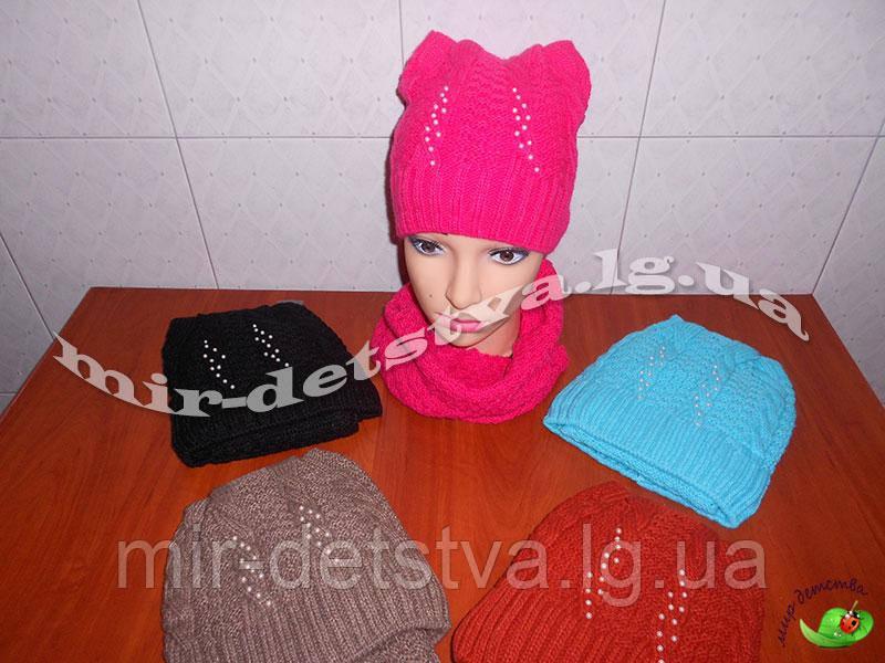 Комплект шерстяной для девочки шапка+хомут (флис) р.54-56 см (50% шерсть)