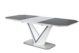 Стол обеденный стеклянный VALERIO Ceramic Signal серый/белый
