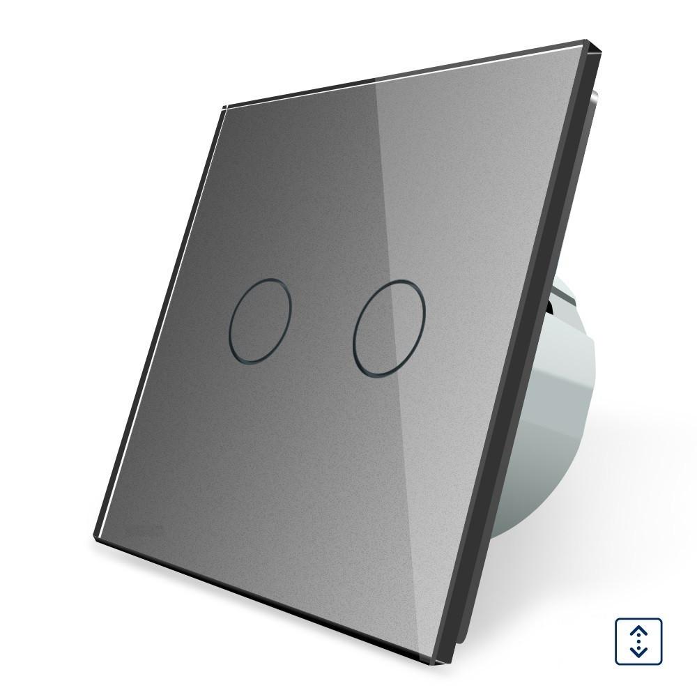 Сенсорный выключатель для штор, ворот, жалюзи Livolo, цвет серый, стекло (VL-C702W-15), фото 1