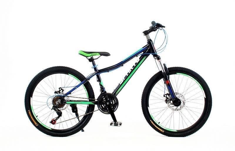 """Подростковые велосипед SPARTO TF 7824  24"""" Черный/зеленый"""