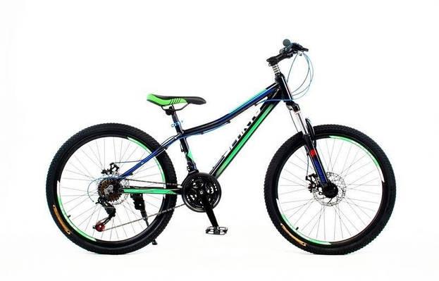 """Подростковые велосипед SPARTO TF 7824  24"""", 13""""  Черный/зеленый"""