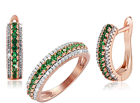Серебряный набор Изумруд  серьги + кольцо  с позолотой 585 пробы с фианитами