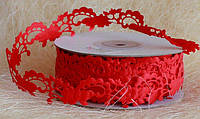 Кружево лента, красный цвет, 2 см, 20 м моток