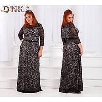 Длинное гипюровое вечернее платье Алиса  батал 50-56 р, черное