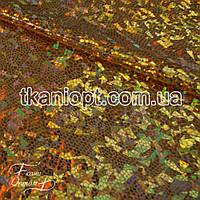 Ткань Голограмма (золото на черном)