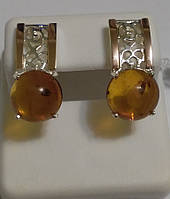 Серебряные серьги  с золотом и янтарем Диана