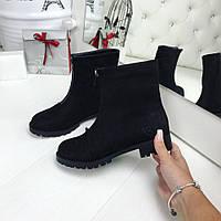 Женские демисезонные ботиночки VS черные экозамш на молнии