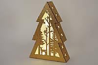 """Новогоднее украшение """"Елка"""" с LED-подсветкой , натуральное дерево 29 см"""