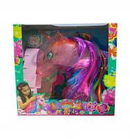Голова лошади 68022 (18шт/2) доп.цветные пряди,диадема,шкафчик,расческа, в кор.14*30*32см