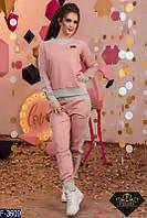 Стильный розовый женский спортивный костюм турецкая двунитка +рибана Арт-15147