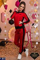 Стильный красный женский спортивный костюм турецкая двунитка +рибана Арт-15147
