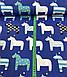Хлопковая ткань польская лошадки бело-синие на синем №442, фото 2