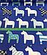 Хлопковая ткань польская лошадки бело-синие на синем №442, фото 3