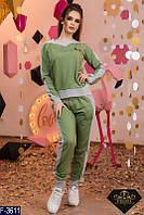 Стильный зеленый женский спортивный костюм турецкая двунитка +рибана Арт-15147