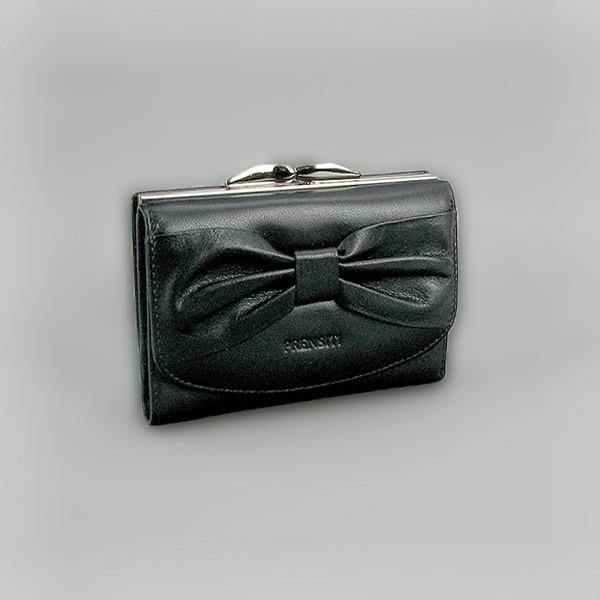 Кошелек кожаный женский бант черный Prensiti 42005