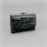 Кошелек кожаный женский бант черный Prensiti 42005, фото 1