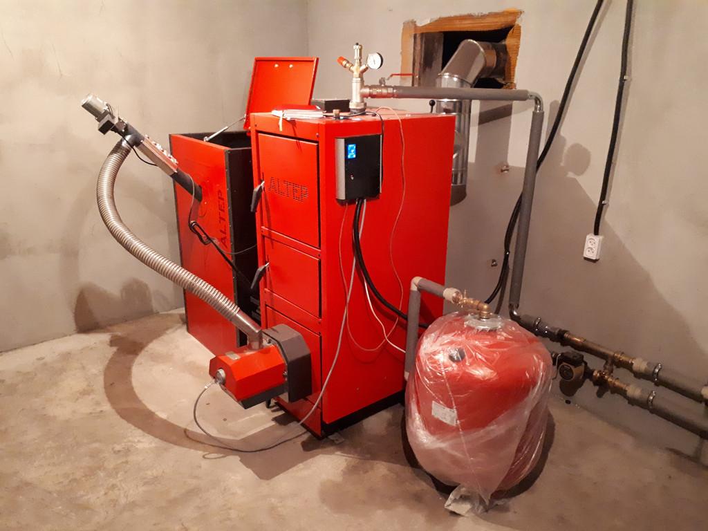Монтаж котельной на базе пеллетного котла Altep Duo Uni Pellet KT-2EPG 21 кВт.