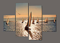 Картина модульная Парусники и море 120*93 см