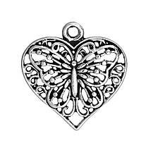 Подвеска Сердце, Цинковый сплаве, Античное серебро, Бабочка с узором, ажурная резьба, 23 мм x 22 мм
